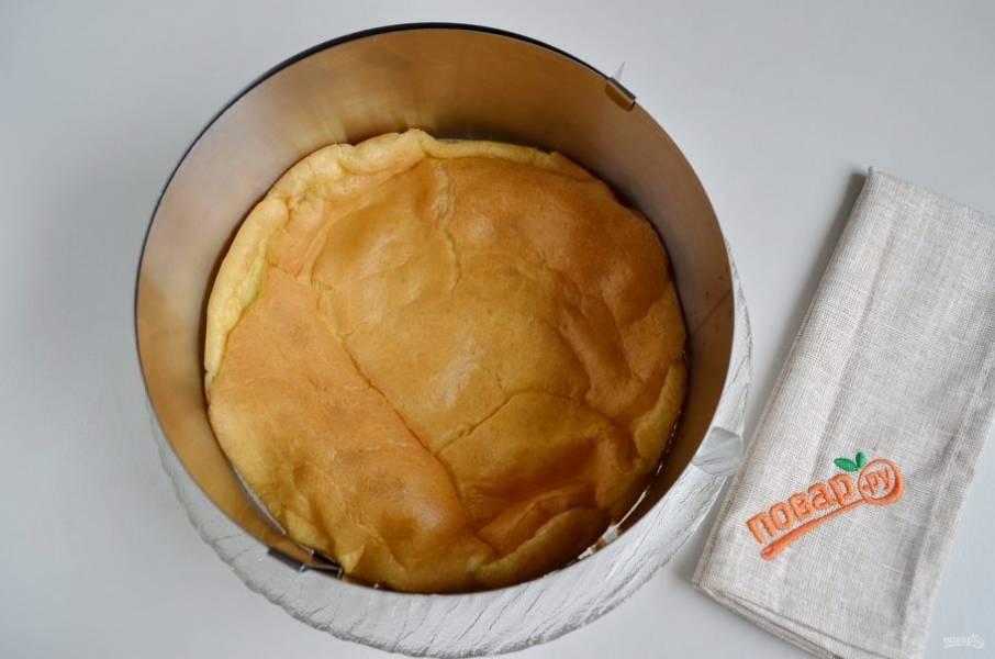 Остывший бисквит положите на блюдо. Сверху установите кулинарное кольцо.