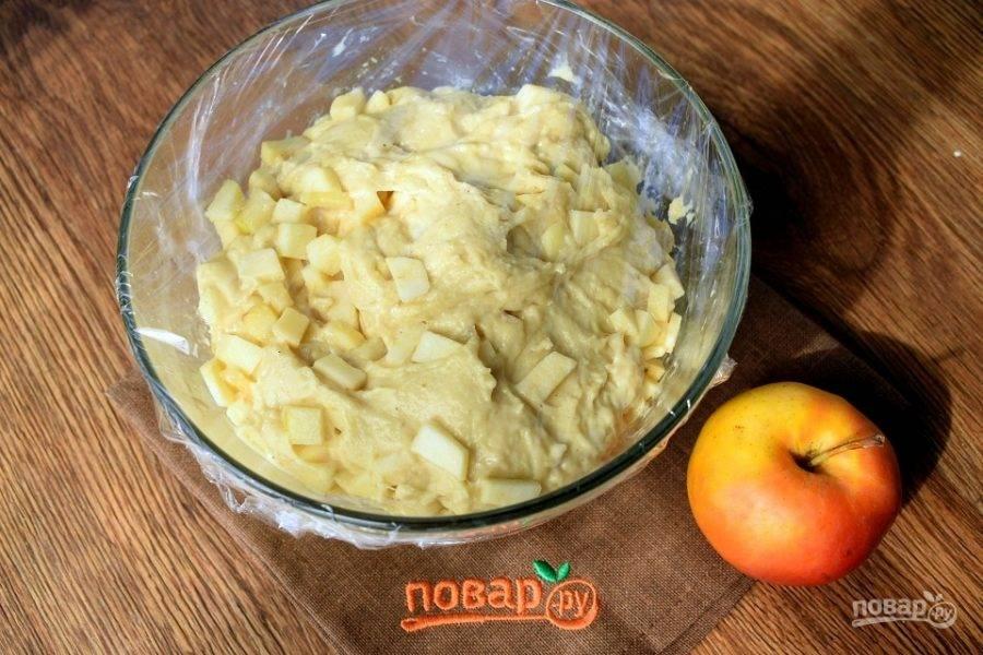 Добавьте в тесто кусочки фруктов, перемешайте. Тесто поместите в глубокую миску, слегка смазанную маслом, накройте и поставьте в теплое место на 1 час для подъема.