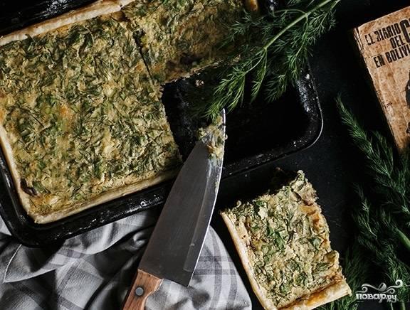 8. Выпекайте постный пирог с грибами в домашних условиях около 20 минут при температуре 180-190 градусов.  Приятного аппетита!