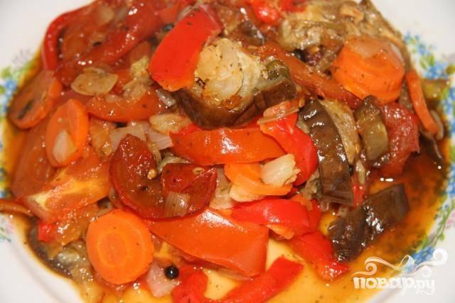 Летнее соте из овощей с имбирем