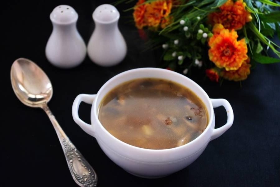 Подаем к столу горячим. Очень вкусно такой суп с подсушенным в духовке белым или черным хлебом. Хлеб можно натереть чесноком.