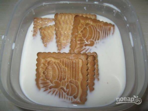1.В емкость налейте 100 миллилитров молока, порционно выложите в молоко печенье и оставьте каждую партию на 40-60 секунд.