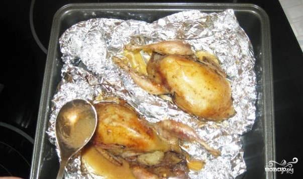 Запекайте блюдо в духовке в течение часа, а затем достаньте его, откройте фольгу и полейте тушки образовавшимся соком.