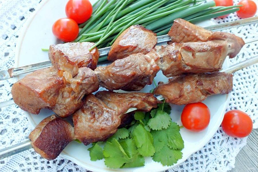 Подавайте шашлык на стол горячим. Дополнительно подайте свежие овощи и зелень. Приятного аппетита!