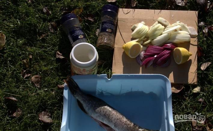 Лук почистите и нашинкуйте полукольцами. Лимон помойте и разрежьте пополам. Рыбу почистите, выпотрошите и промойте.