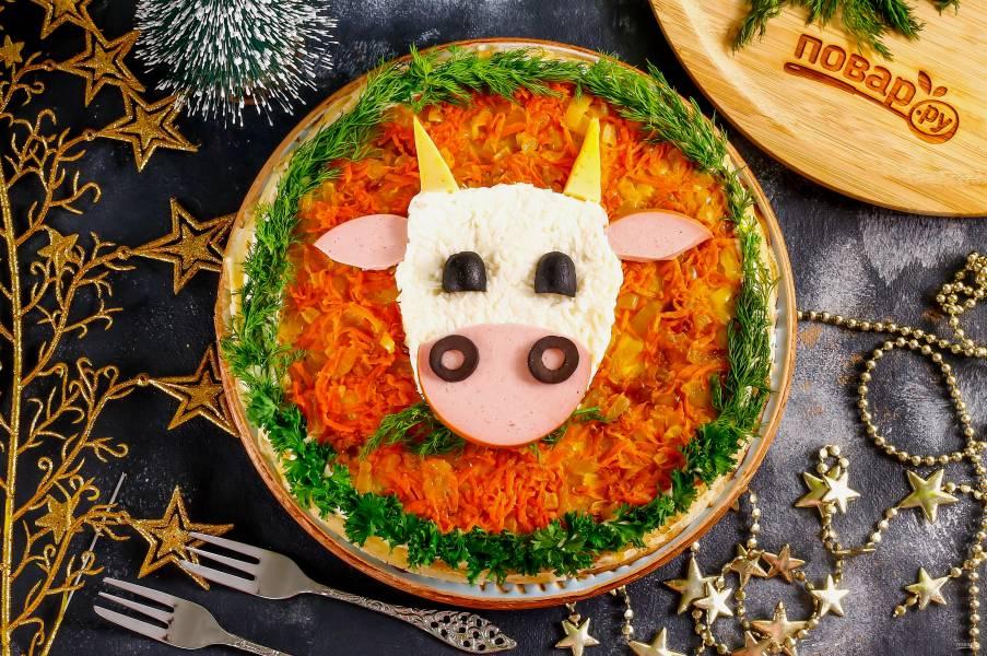 Закусочный торт на Новый год Быка