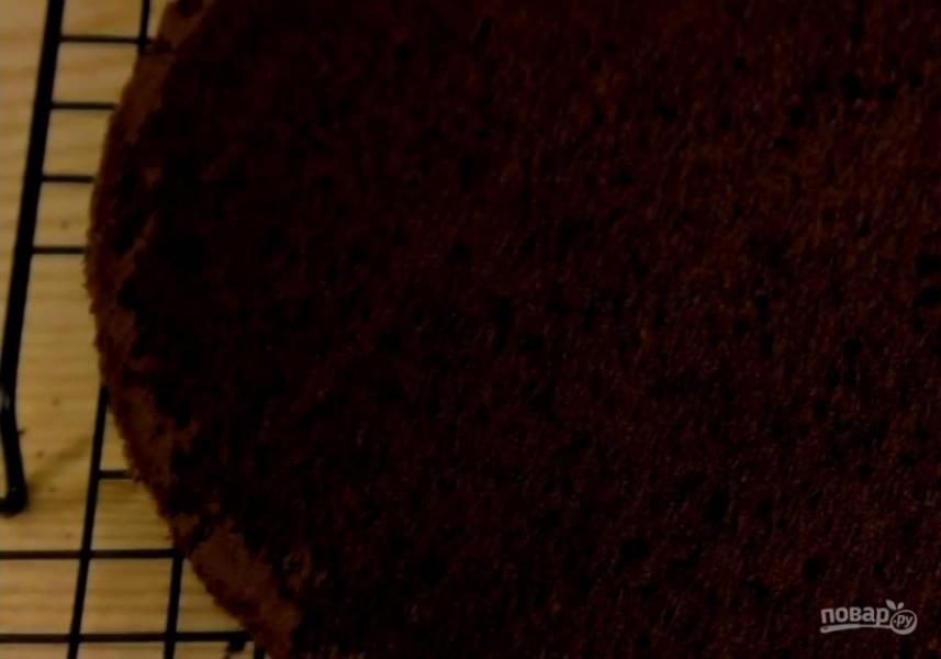 3. Дно формы для выпечки выстелите пергаментной бумагой и выложите 1/4 теста. Выпекайте в разогретой до 180 градусов духовке 20-25 минут. Остудите коржи в форме в течение 10 минут, после чего остудите их полностью на решетке.