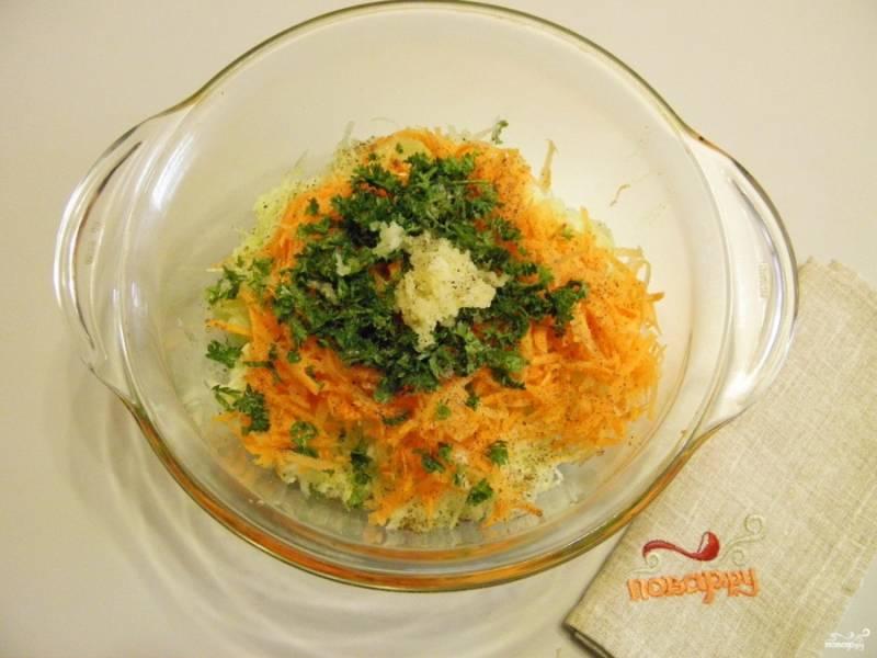 3. На крупной терке натрите морковь, порежьте мелко зелень петрушки, чеснок пропустите через пресс. Добавьте овощи к кабачку. Посолите, поперчите. Перемешайте.