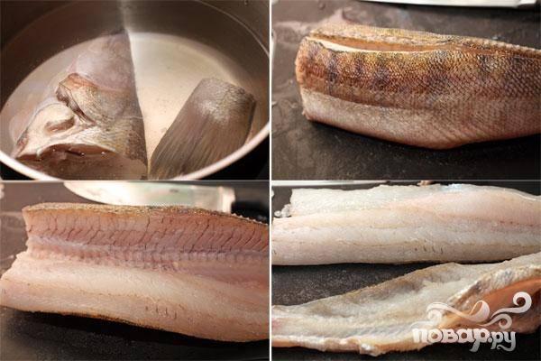1.В первую очередь выпотрошим рыбу, удалим жабры, очистим чешую и промоем ее.  Острым ножом отрежем хвост и голову, затем отделим от позвонка филе.