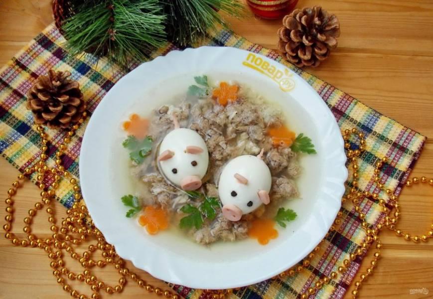 """Холодец """"Поросята"""" готов. Приятного аппетита и хорошего Нового Года!"""