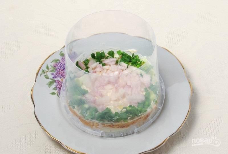 5.На рыбные консервы выкладываю репчатый лук, а края посыпаю зеленым луком.