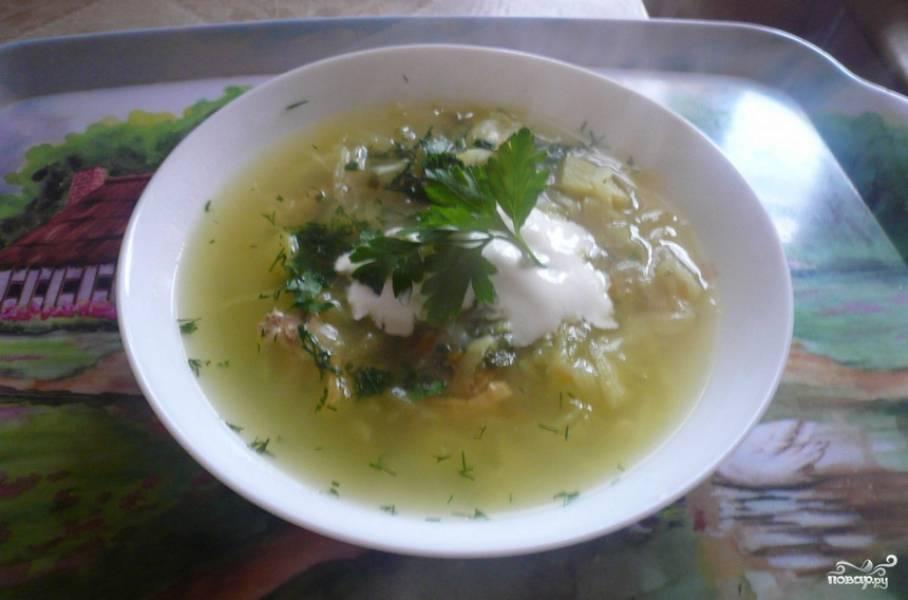 Украшаем готовый суп свежей зеленью, добавляем сметану. Приятного аппетита!