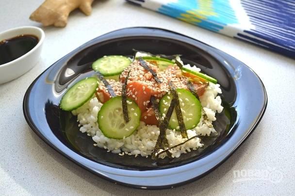 Поке из красной рыбы в домашних условиях можно подавать к столу. Приятного аппетита!