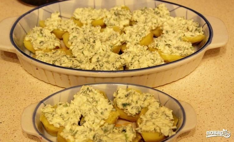3.В зависимости от размера нарезаю картофель на половинки или кружочками около 1 сантиметра. Форму для выпекания смазываю сливочным маслом, укладываю в неё картошку, сверху равномерно выкладываю полученную смесь из сыра и сметаны.