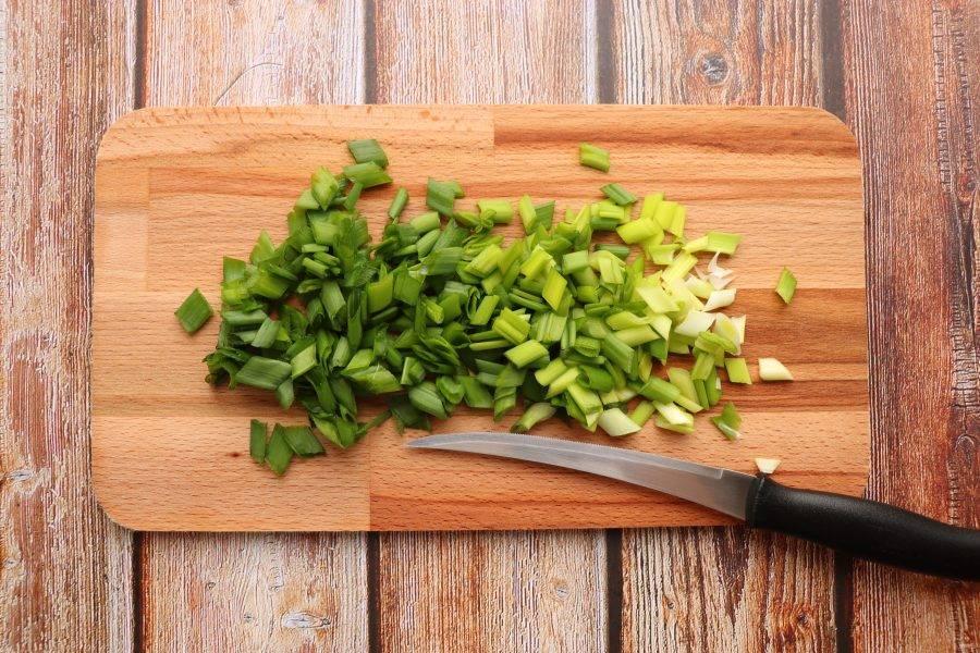 Зеленый лук вымойте, обсушите и нарежьте.