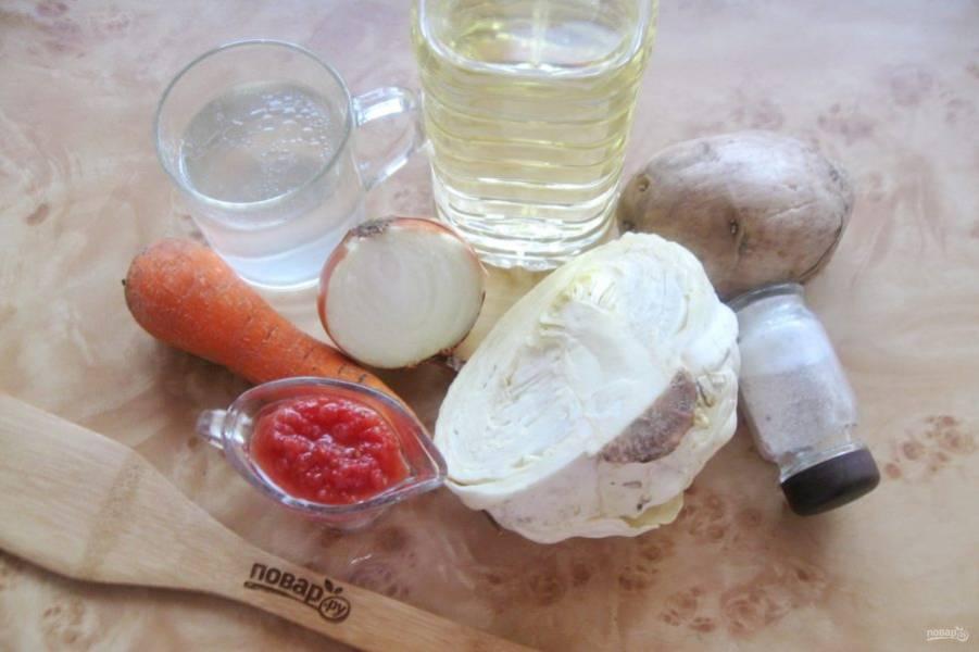 Подготовьте ингредиенты для приготовления щей.