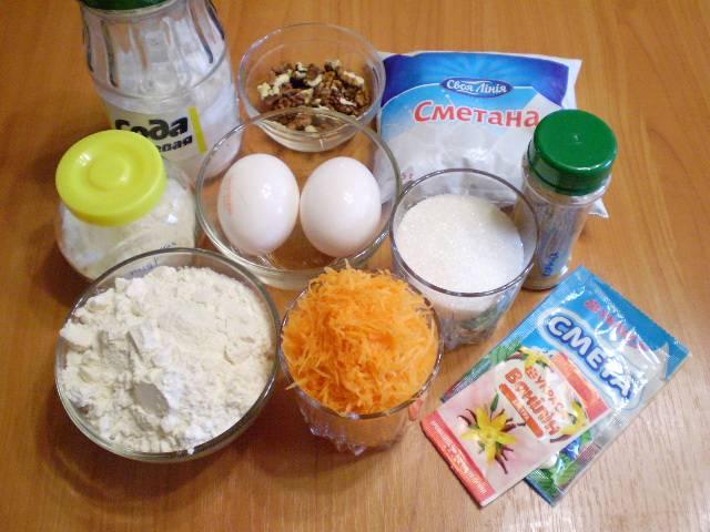 1. Приготовим продукты для морковного торта.