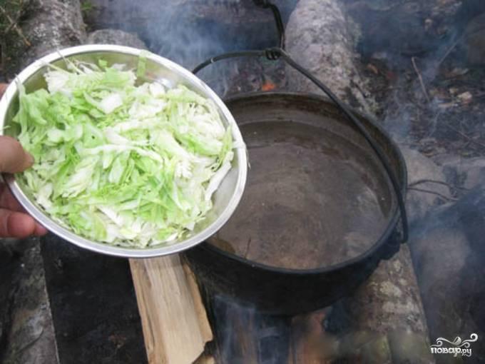 1. Капусту промойте. Снимите верхние листы с кочана, они не понадобятся. Остальную часть нашинкуйте мелкой соломкой. В кастрюлю налейте воды, поставьте на большой огонь. Добавьте капусту в воду.