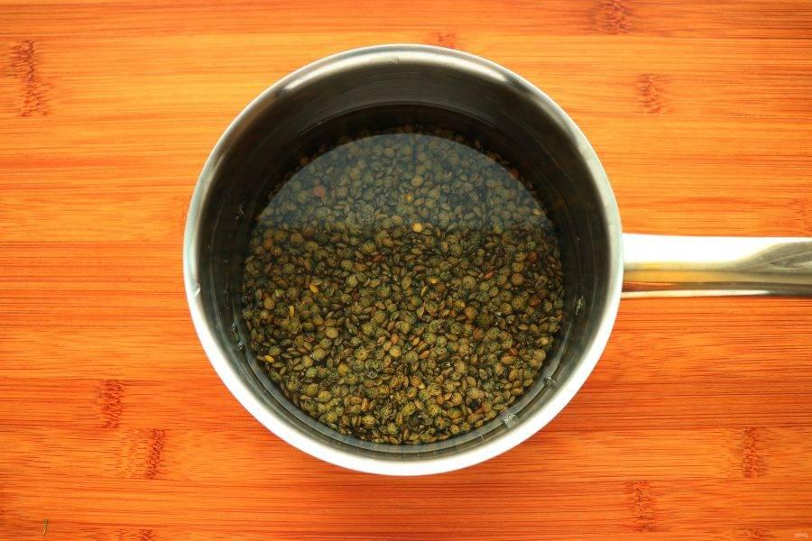 Чечевицу промойте, залейте холодной водой и варите до готовности.