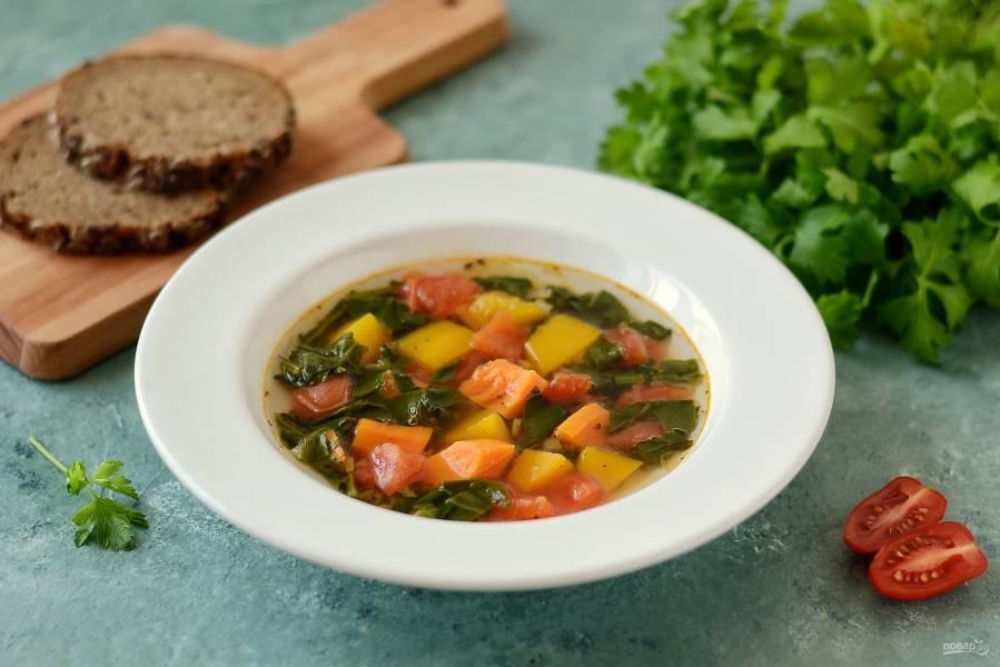 Суп из тыквы и шпината