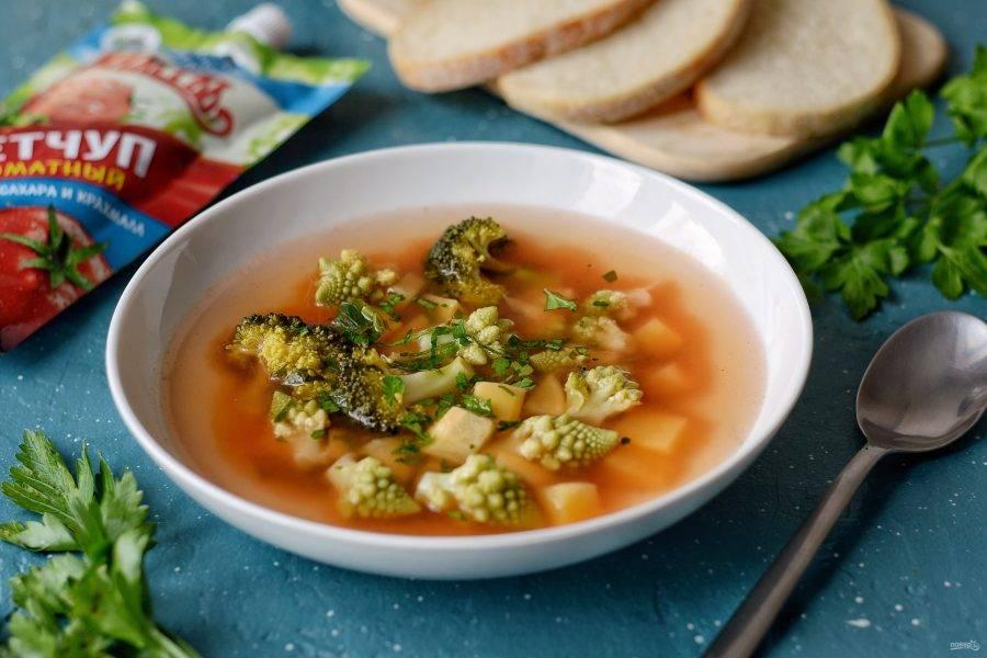 Легкий овощной суп готов, приятного аппетита!
