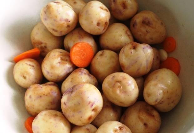 Очистите картофель, порежьте морковь кружочками.