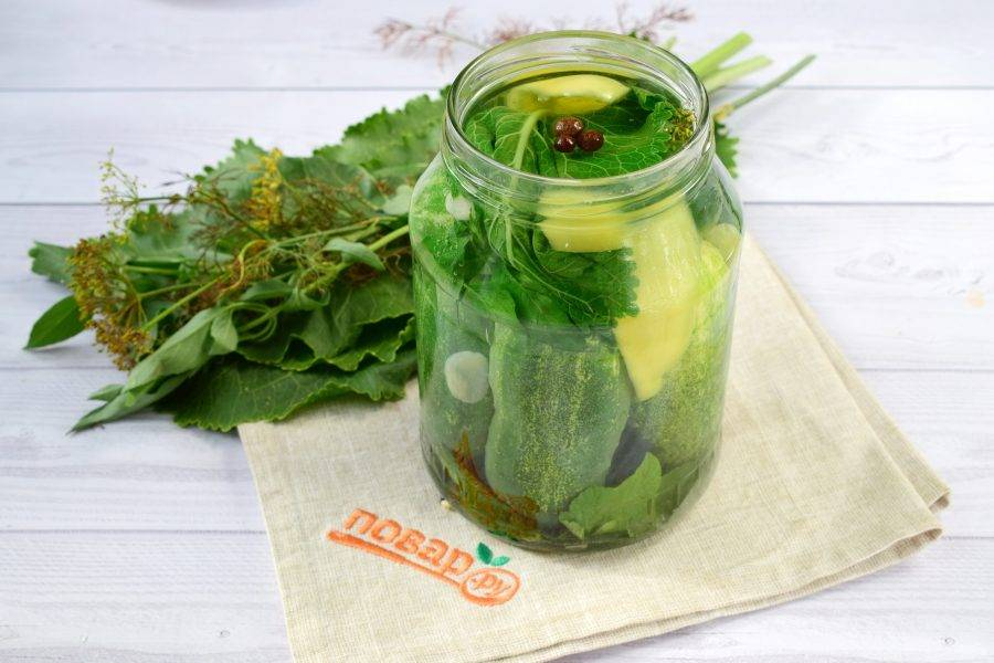 2.Сделайте рассол: в кипящей воде растворите соль. В банки заложите огурцы, травы, перец, залейте рассолом. Накройте крышкой и держите 2-3 дня в комнате. Рассол помутнеет.