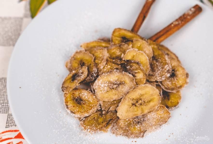 Банановые чипсы (сушеные бананы с корицей)