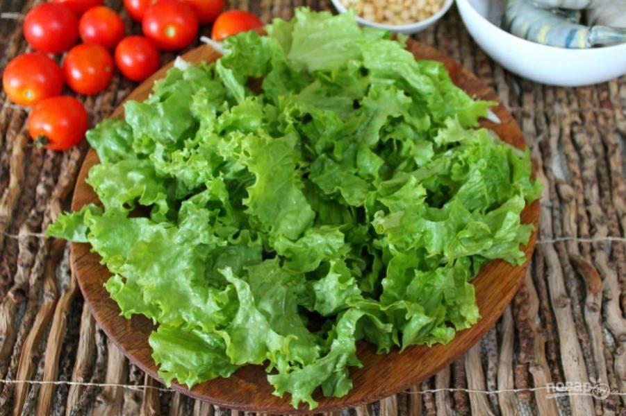 Листья салата моем, разделяем на кусочки и выкладываем на плоскую тарелку.