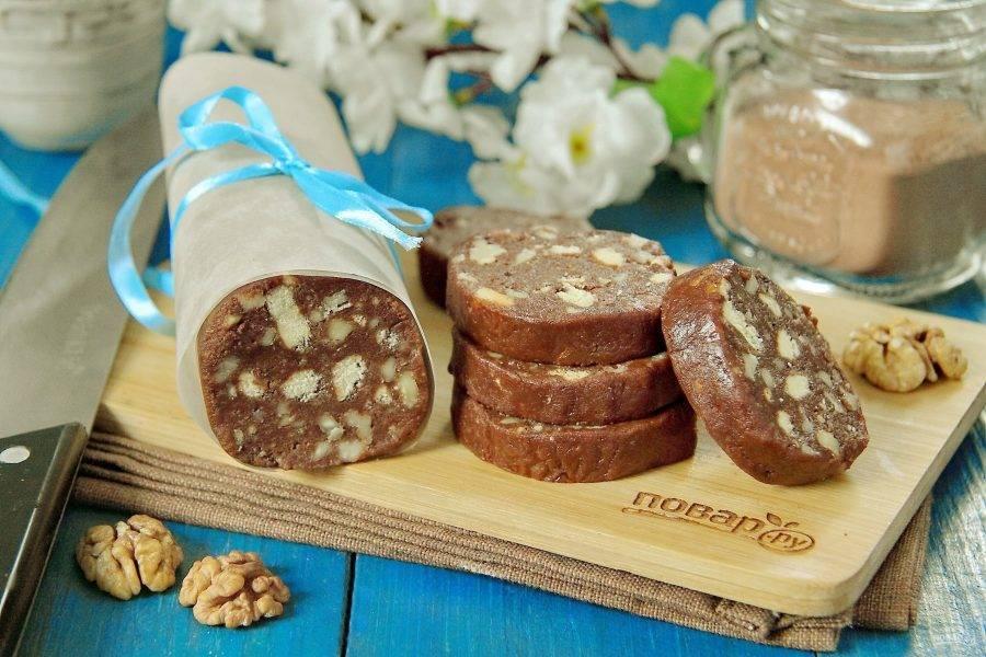 11. Кондитерская колбаска из печенья готова. Приятного чаепития!