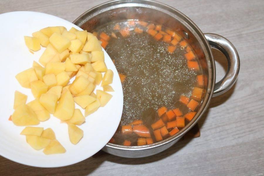 В кастрюлю добавьте картофель. Варите 5 минут.