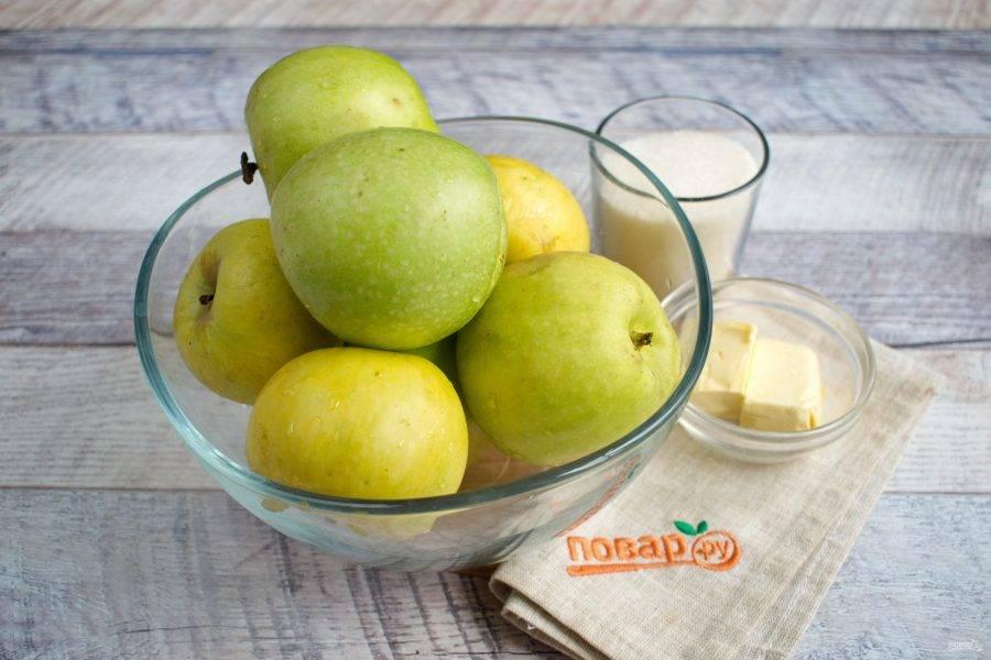 Яблоки вымойте обсушите, не очищайте.