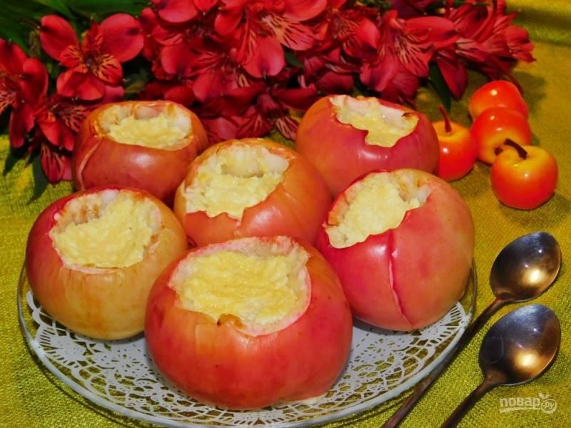 Запеченные яблоки с творожной начинкой