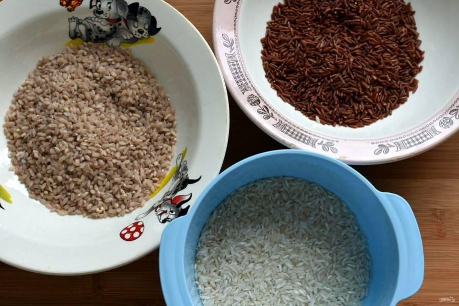 Насыпьте рис разных цветов по тарелочкам. Обкатайте тефтельки в рисе.