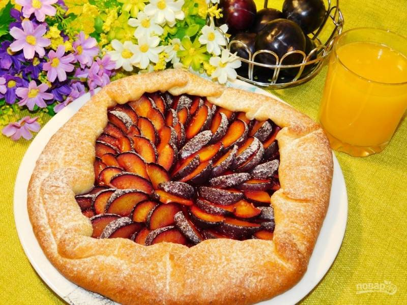 Сливово-творожный пирог
