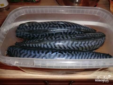 Рыбу положите в емкость, где будете её солить. Я солил сразу 5 штук и все ингредиенты увеличил соответственно в 5 раз. Рыбки укладываем плотно, чтобы не плавали.