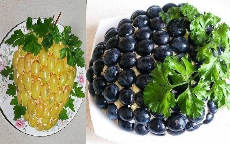 Украсьте салат половинками ягод винограда и веточками петрушки. Перед подачей на стол поставьте салат на 1 час в холодильник. Приятного аппетита!