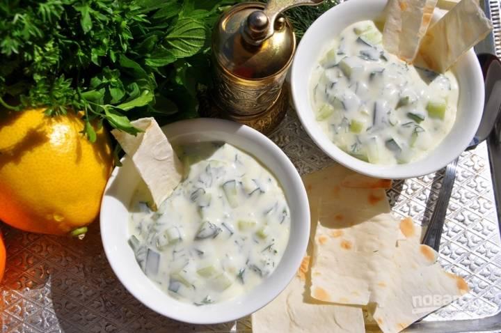 4. Добавляю в соус несколько веточек мелко нарезанной мяты и перемешиваю, подаю соус с питой или лавашем. Также он подойдет к мясу и рыбе. Приятного аппетита!