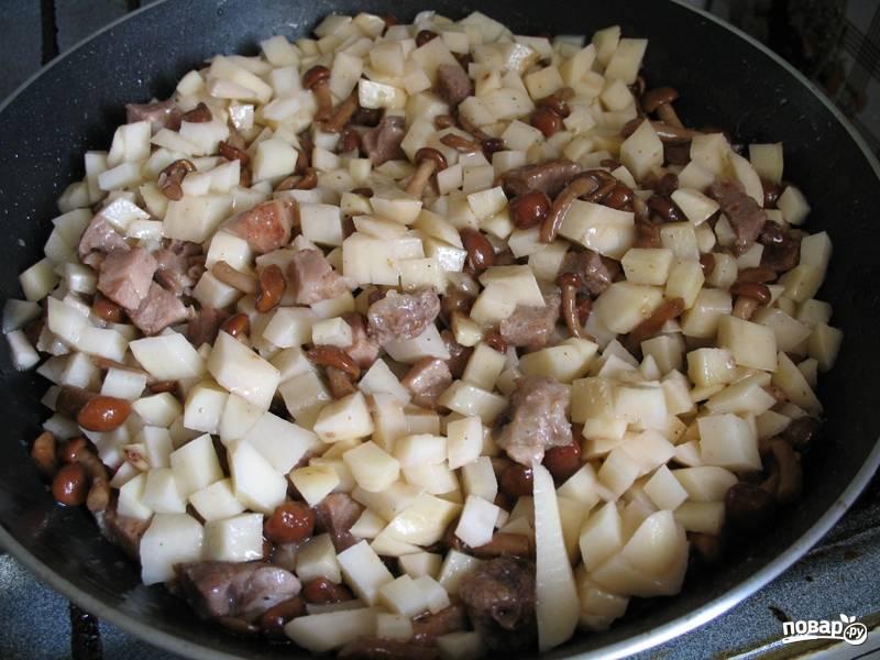 Выкладываем лук с картофелем в сковороду, солим и перчим по вкусу. Хорошо все перемегиваем и накрываем крышкой. Готовим, пока картофель не станет мягким.