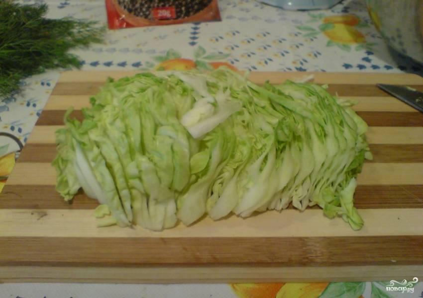 2. Теперь просто мелко шинкуем зелень и капусту.