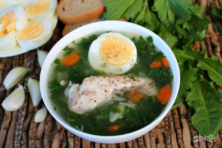 В готовый суп добавляем вареное яйцо и посыпаем черным перцем. Суп из одуванчика и крапивы готов, подаем горячим с чесноком и темным хлебом. Приятного аппетита!