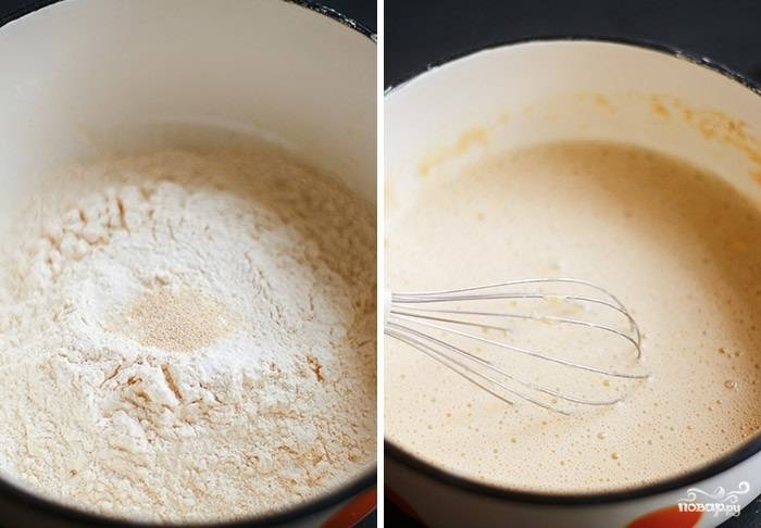 5. Для приготовления заливки в данном случае используется гороховая мука. Смешайте ее со щепоткой соли и молотым чесноком. Постепенно вливайте воду, пока заливка не достигнет нужно консистенции.