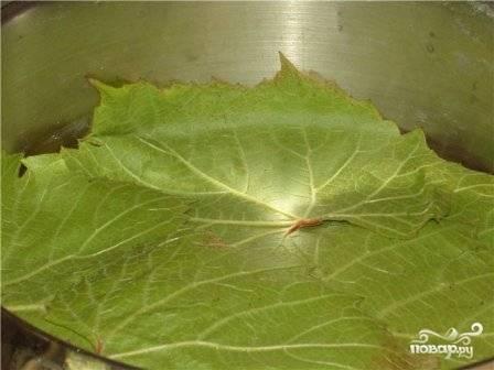 На дно кастрюли, в которой будет готовиться долма, выкладываем виноградные листья.