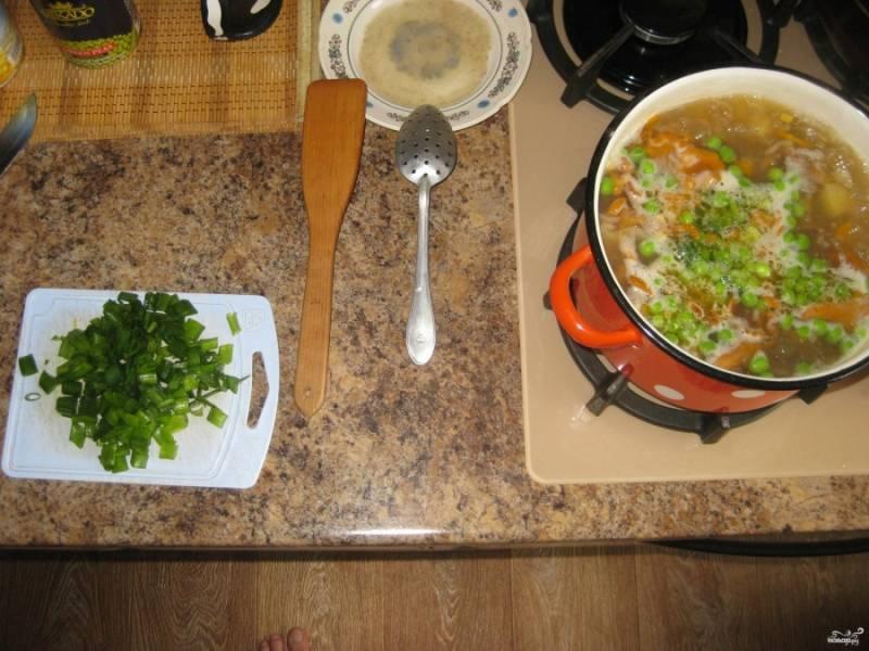 Нарезанный зеленый лук отправляем в кастрюлю после того, который жарился на сковородке.