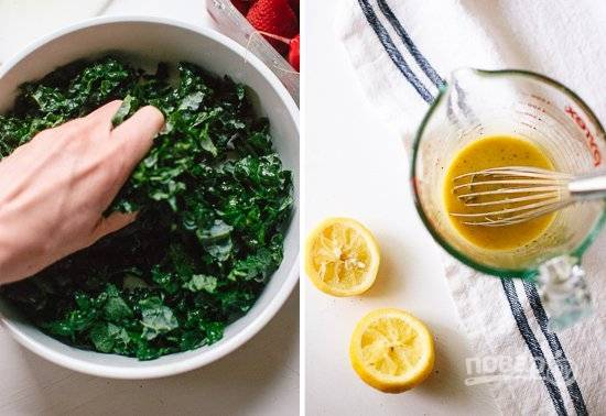 3. Кале чуть подсолите и слегка помните руками. Для приготовления заправки соедините оливковое масло, сок лимона, горчицу, мед, соль и перец. Тщательно перемешайте.
