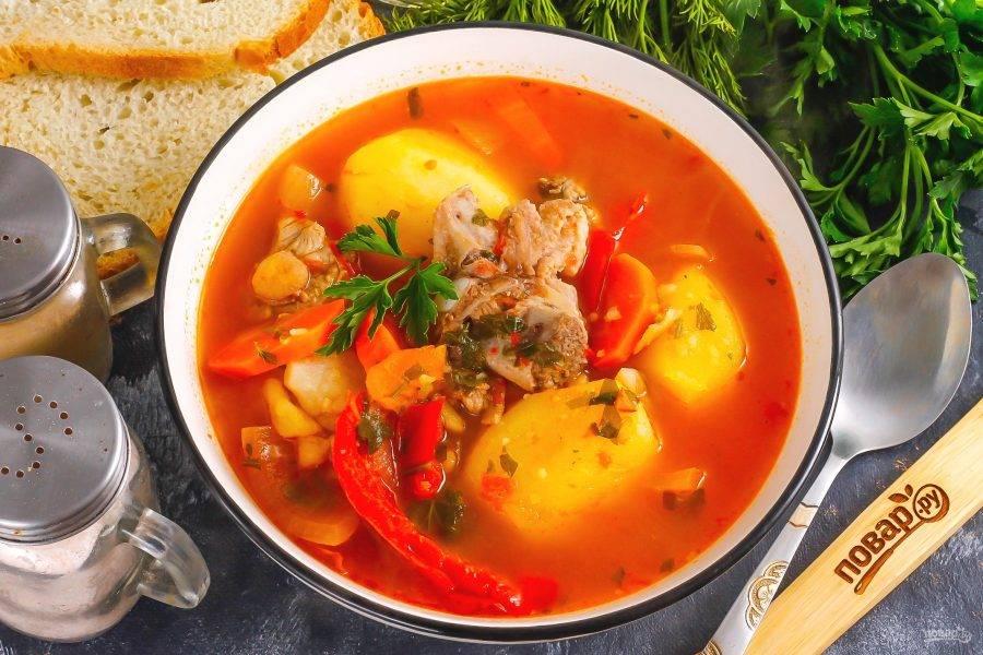 Разлейте аппетитный суп с бараниной в глубокие тарелки или пиалы и подайте к столу.