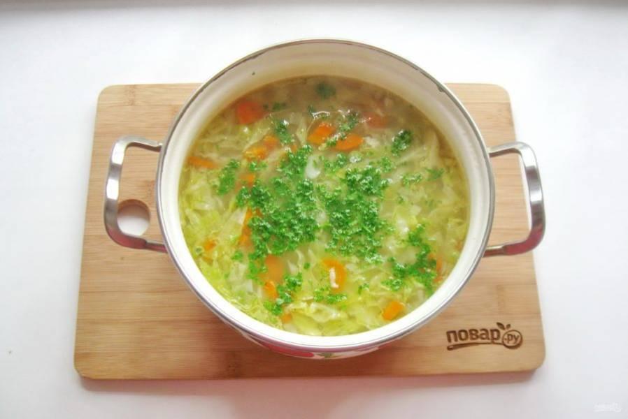 В готовый суп выложите любую зелень петрушки или укропа.