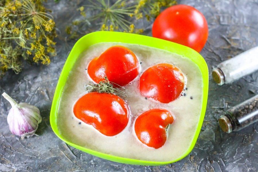 Промойте помидоры и выложите их в приготовленный рассол. Поместите гнет и оставьте все в теплом месте на 5-7 дней, в зависимости от величины томатов. По желанию можете добавить промытые стебли сельдерея.