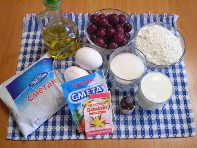 1. Приготовим продукты для бисквита и крема.