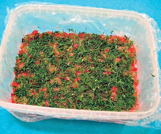 2. Сверху риса необходимо выложить нарезанную небольшими кубиками семгу. Распределить по всей поверхности. Измельчить укроп и высыпать сверху.